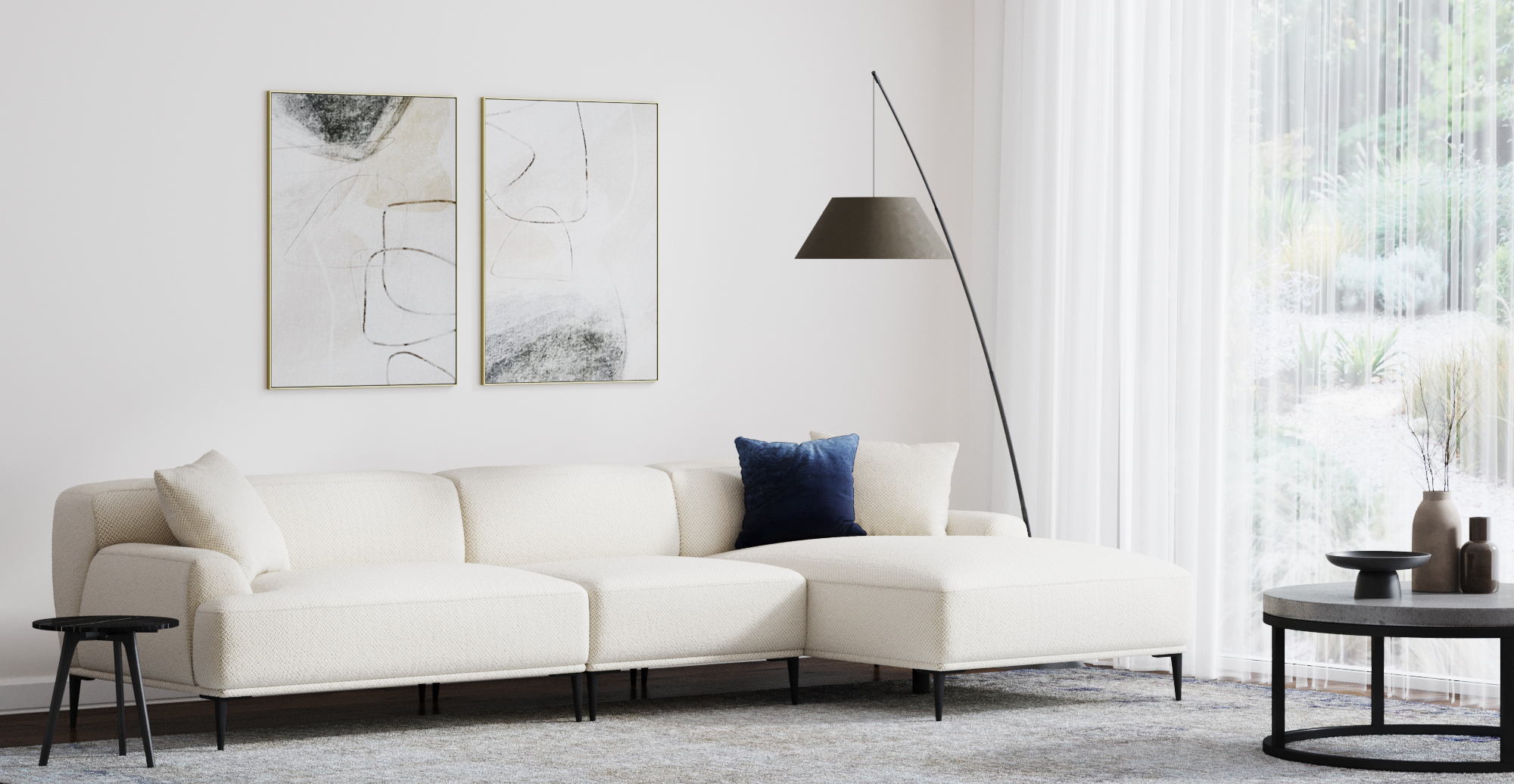 Brosa Seta 5 Seater Sofa with Chaise styled in modern living room