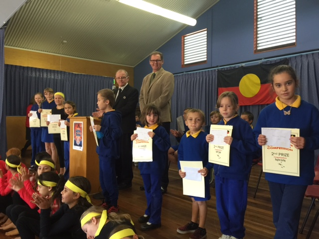 NAIDOC Week colouring in competition winners with Principal Mr Tom Purcell and Eurobodalla Shire mayor Mr Lindsay Brown.