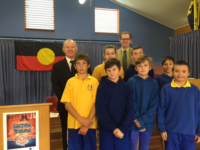 Principal Mr Tom Purcell, Eurobodalla Shire Mayor Mr Lindsay Brown and the year six Koori students who hosted the opening ceremony.