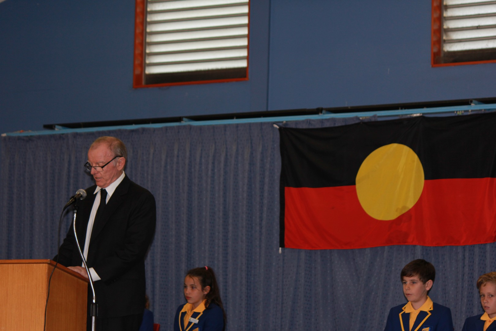Batemans Bay Public School Principal Mr Tom Purcell addresses the assembly.
