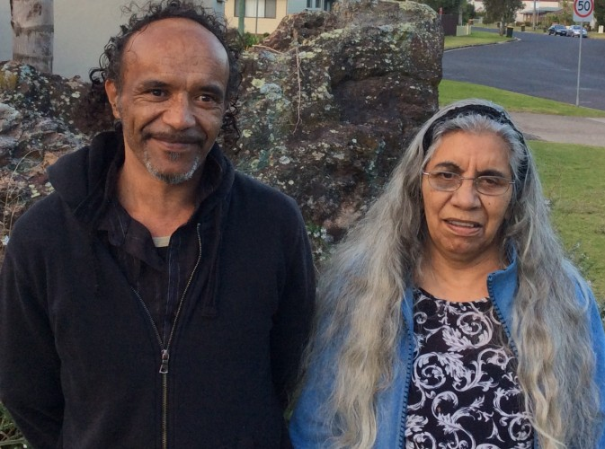Aboriginal Community Liaison Officer Roderick Slockee and Walbanga Elder Aunty Violet Parsons at a significant local Aboriginal site - Hanging Rock