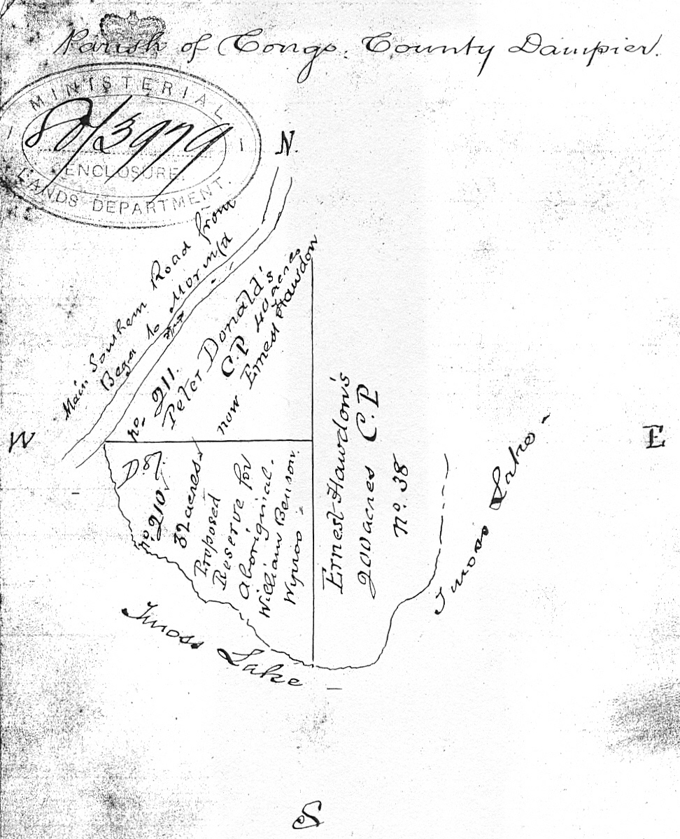 Figure 8: Map of area enclosed in request for reserve for William Benson Wynoo, showing adjoining landholders.