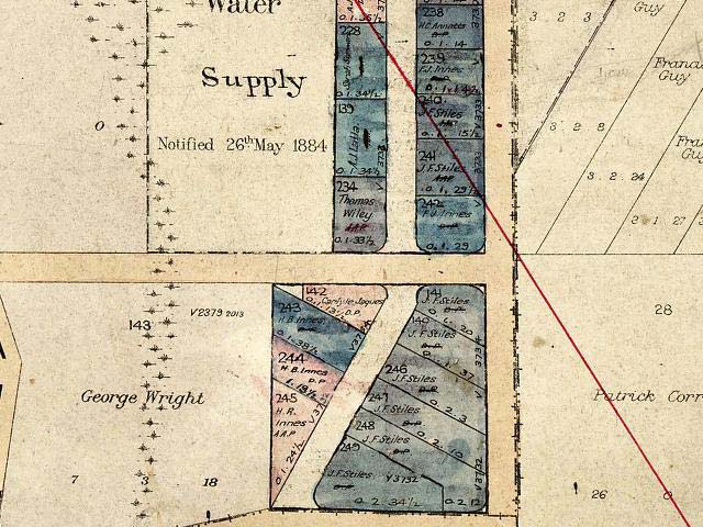Figure 12: Map from pre 1932, arrows indicate area previously forming the Bateman's Bay Reserve 34759.