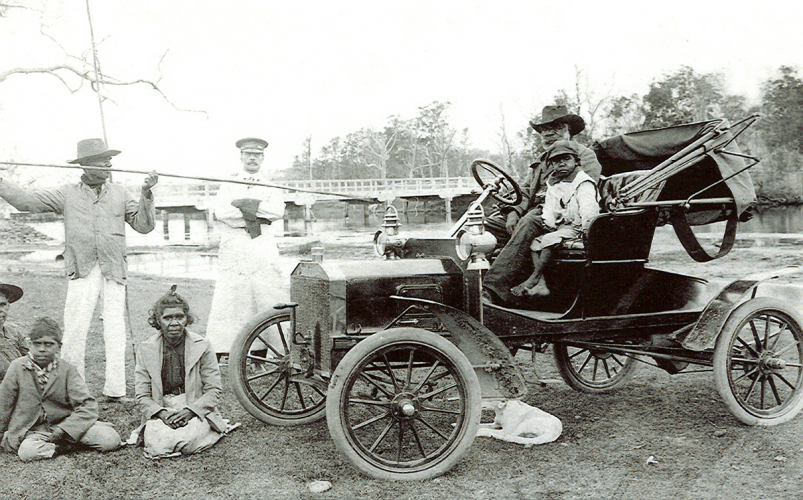 Plate 3: Aboriginal family including Mr. Jimmy Friday (in car) (known as King of Bateman's Bay) in the early decades of the twentieth century.