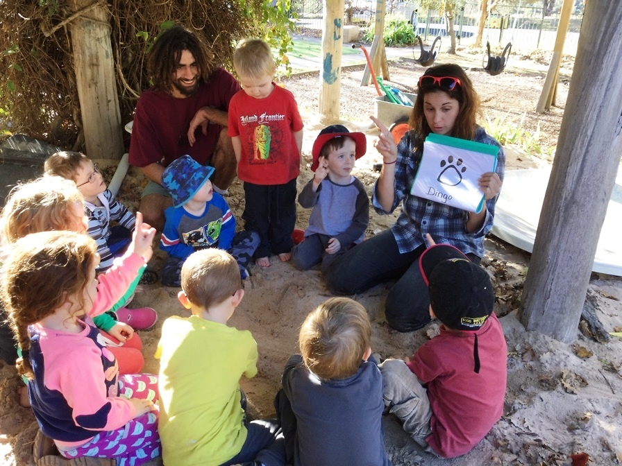Chelsy deepens the children's knowledge as she teaches the making animal tracks , the children practice the making of tracks and recogonise animals that they connect to in their lives.