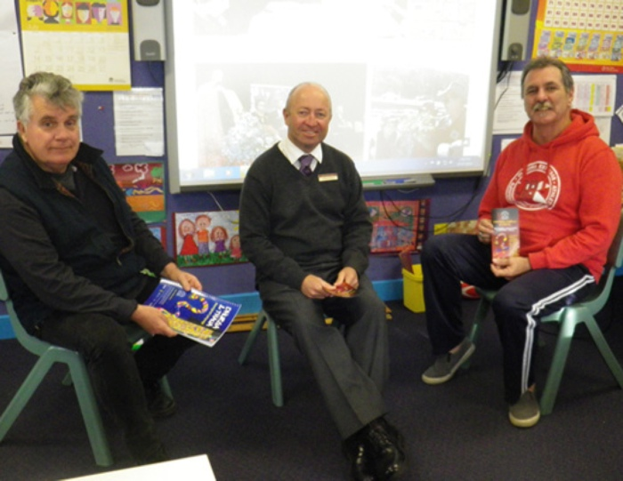 From left: Russell Cook (CEO, Bega Lands Council), Graham Roberts (Acting Principal) and Graham Moore (community member).