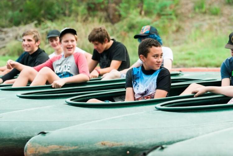 Having fun canoeing