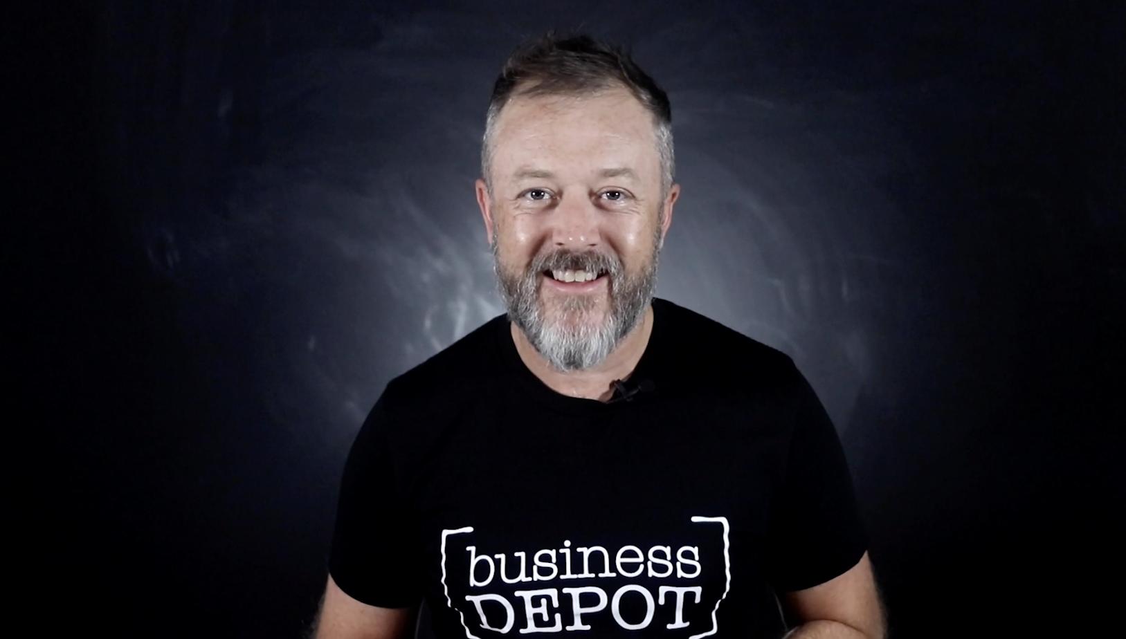 businessDEPOT's John Knight wearing a businessDEPOT tee.