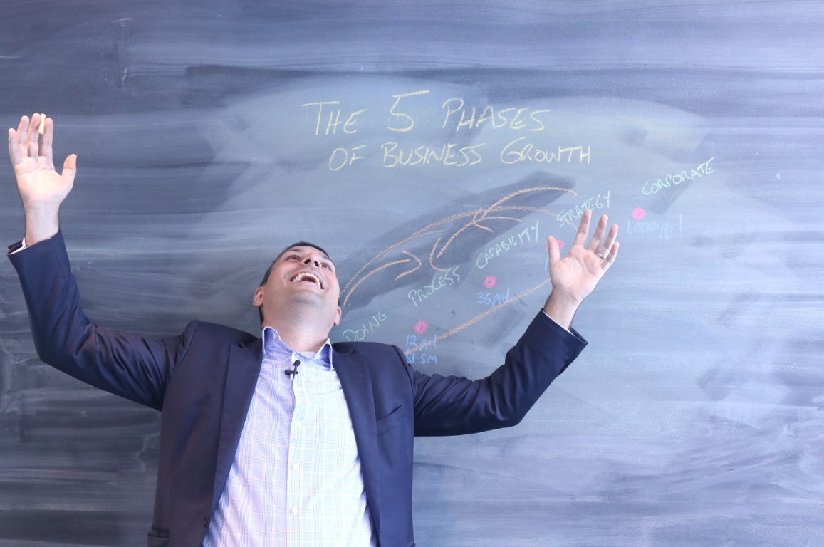 "A man throwing his arms up in a happy gestured in front of a blackboard that reads ""The five phases of business growth""."