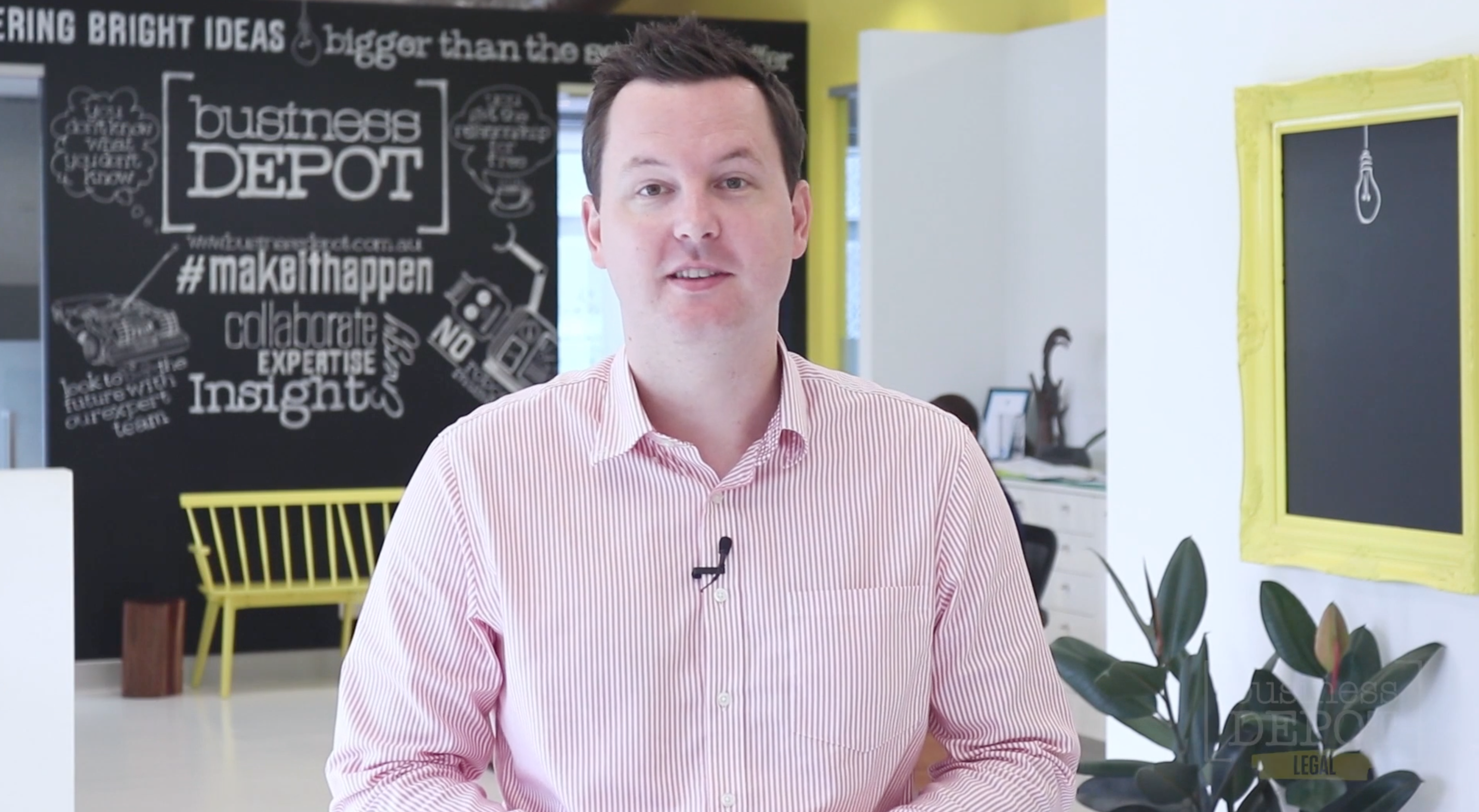 A frame from one of the professionally looking businessDEPOT videos.