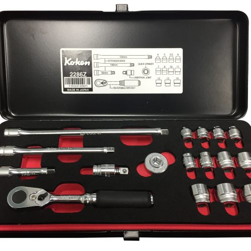 "1/4"" Sq. Dr Socket Set Black Metal Case Z Series"