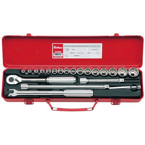 """3206M Socket Set 12pt 21pc 3/8""""Dr 6-22mm"""