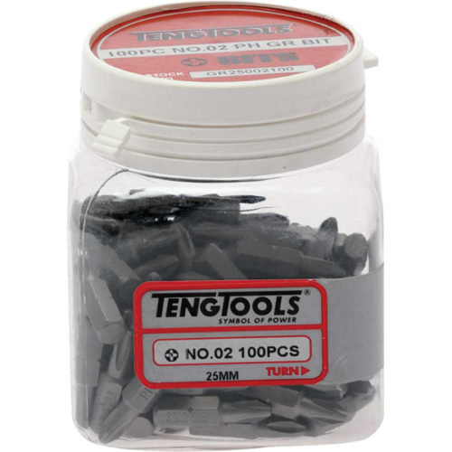 Teng 100Pc 1/4in Hex PH#2 Grabber Bit