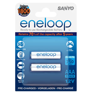 Panasonic Eneloop 750Mah 1.2V Rechargeable AAA Battery (2pk)