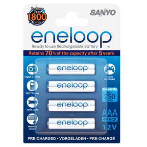 Panasonic Eneloop 750Mah 1.2V Rechargeable AAA Battery (4pk)