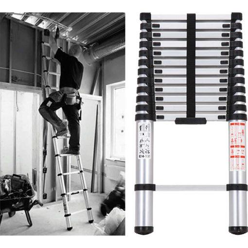 3.8M Telescopic Aluminium Ladder 150kg Cap.