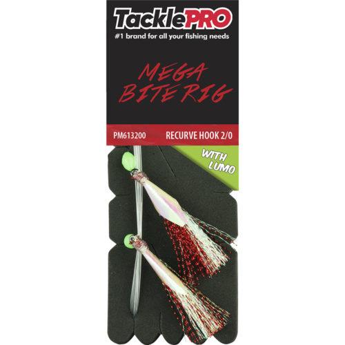 TacklePro Mega Bite Rig Red & Lumo - 2/0 Recurve Hook