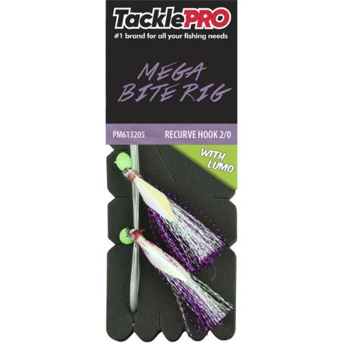 TacklePro Mega Bite Rig Purple & Lumo - 2/0 Recurve Hook