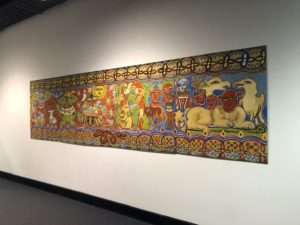 Mural by Mirka Mora painted in 1984 hangs proudly outside the library on level 2 of the main CAE City Campus building.