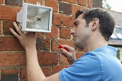 installing a security light on wall