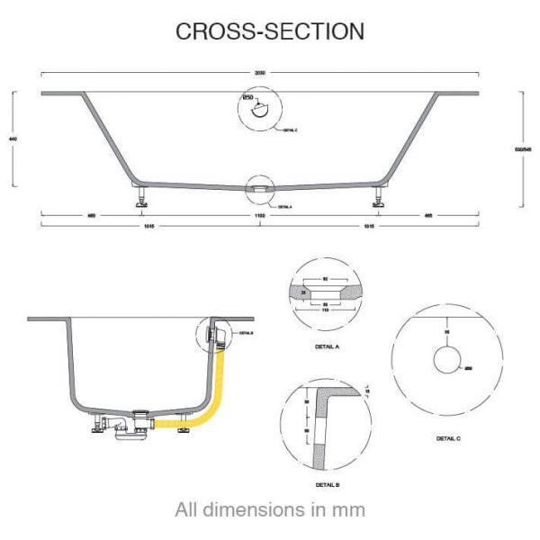 CASF corian bath delight 18410BATH cross section