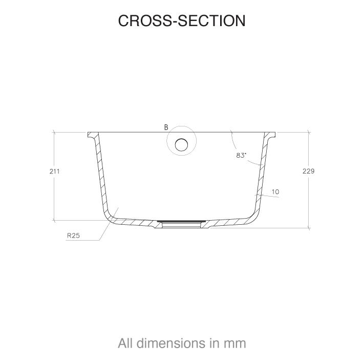 CASF corian sink sweet 805 cross section