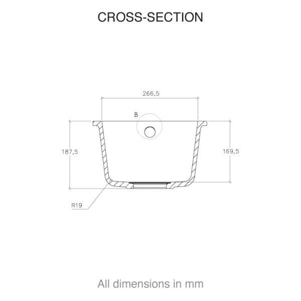 CASF corian sink sweet 809 cross section