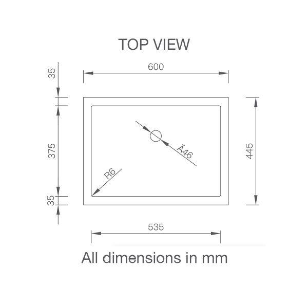 Corian® top mount basin single 315 top view spec