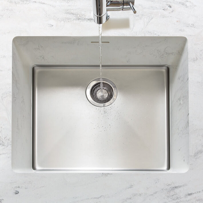 Corian® Sparkling 023 integrated sink raincloud