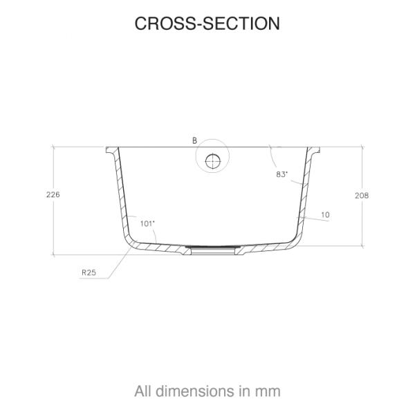 CASF corian sink sweet 804 cross section