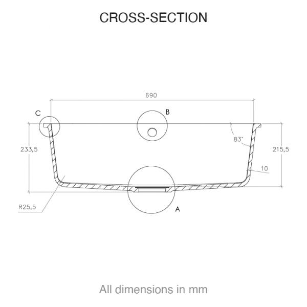 CASF Corian sink sweet 881 cross section