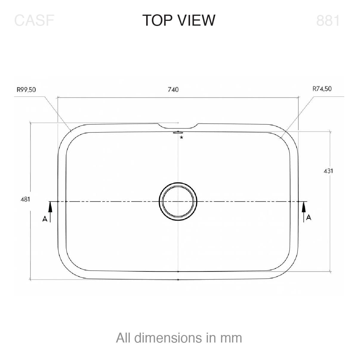 Corian® 881 top view technical drawing
