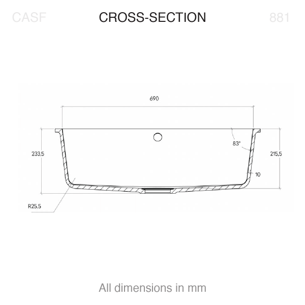 Corian® 881 cross section technical drawing