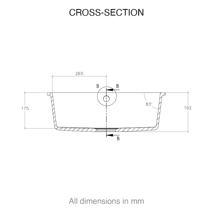CASF Corian sink spicy 970 cross section