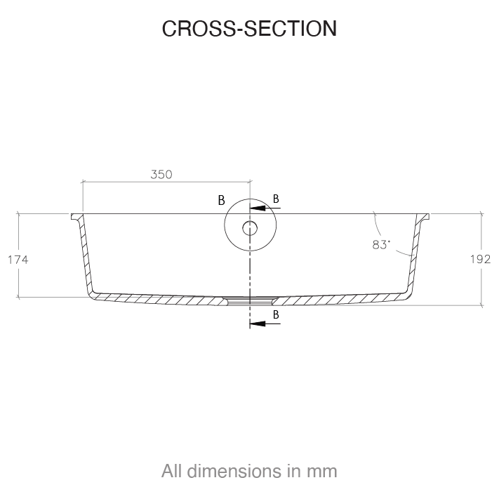 CASF Corian sink spicy 966 cross section