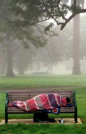 A homeless person lies bundled on a park bench in the Fitzroy Gardens, East Melbourne, in a freezing fog.