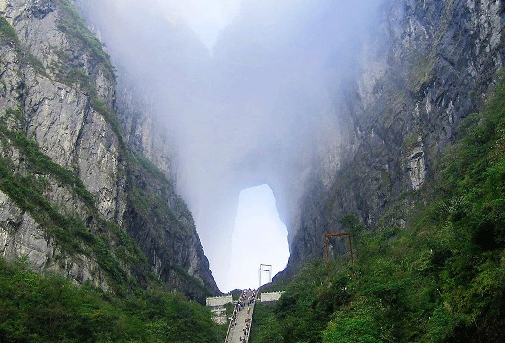Heaven's Gate, a natural portal in the Tian Menshan Mountain National Park, Zhangjiajie in north western Hunan Province, China.