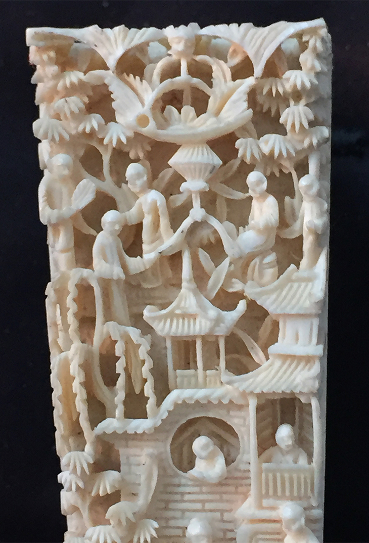 Fan Ivory Carving Close Up