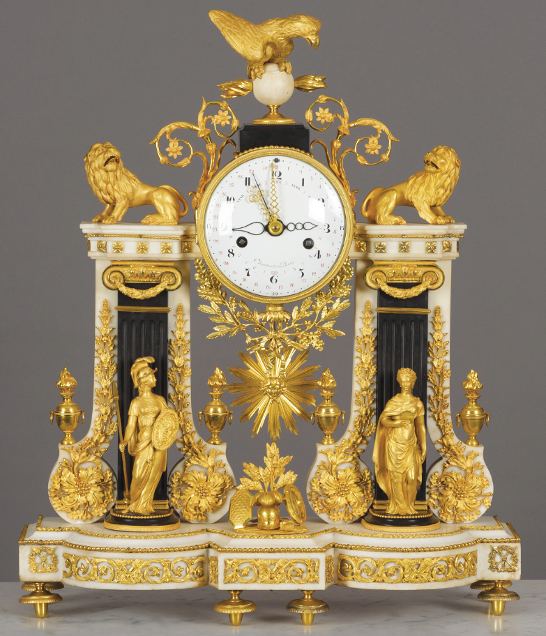 Pierre Robinet, Master Clockmaker 1776, Louis XVI, white marble with gilt bronze, with sculptures of strength and justice standing before two pilasters surmounted by two lions and an eagle perched on a globe above the dial, The David Roche Foundation House Museum and Gallery