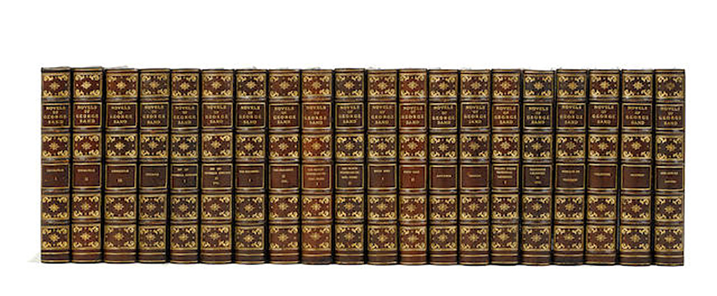 SAND, GEORGE. 1804-1876: Twenty Volume Set of George Sand novels in brown Morocco, The Novels of George Sand. Boston: The Jefferson Press, [1900-02].