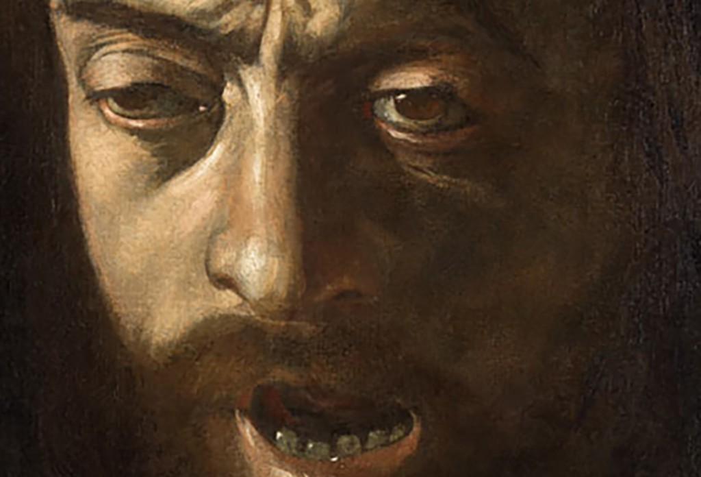 Caravaggio self portrait as Goliath