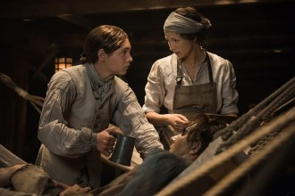 Caitriona Balfe as Claire Fraser and as Elias Pound, Outlander Series 3, Episode 10