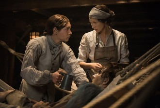 Caitriona Balfe as Claire Fraser and as Elias Pound, Outlander Series 3, Episode 10