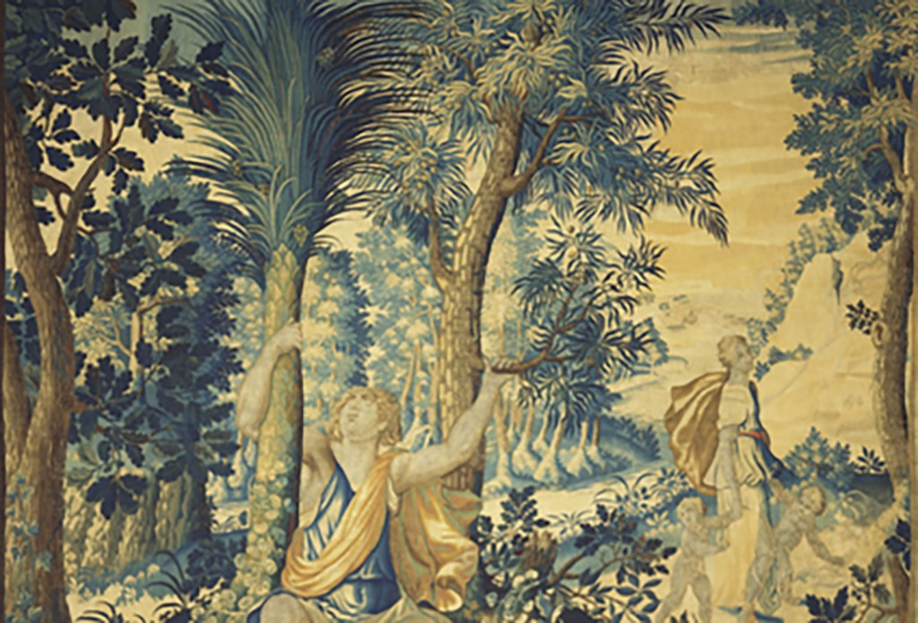 Detail Woven wool tapestry, The Birth of Diana and Apollo, c.1630 courtesy Royal Collection Trust © Her Majesty Queen Elizabeth II 2017