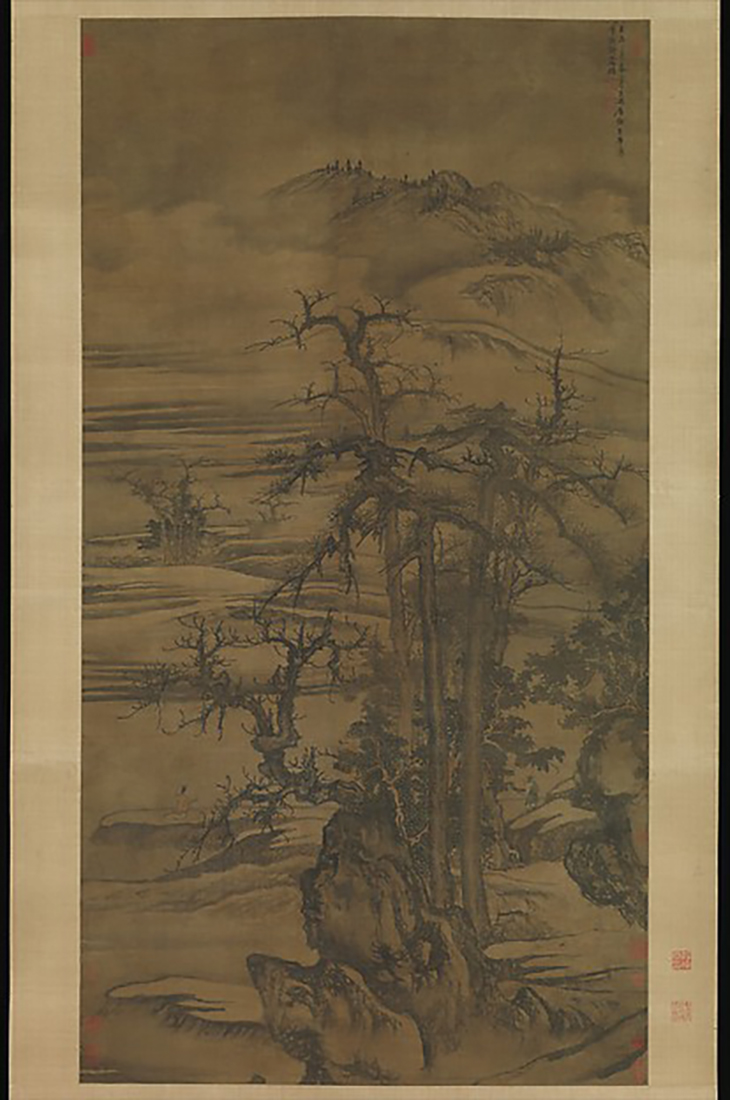 Landscape after a poem by Wang Wei, Yuan dynasty (1271–1368), dated 1323, China, Hanging scroll; ink and colour on silk, courtesy The Metropolitan Museum of Art New York