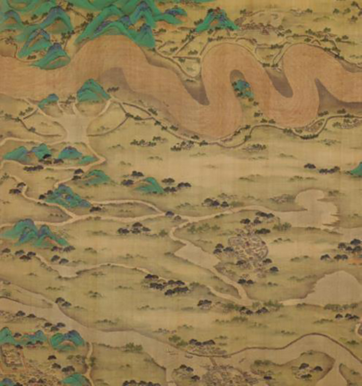 Ten Thousand Miles along the Yellow River (detail), datable to 1690–1722. Chinese, Qing dynasty (1644–1911). Two handscrolls; ink, color, and gold on silk, courtesy The Metropolitan Museum of Art New York