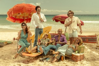 The happy cast of the new Aussie movie Swinging Safari starring Kylie Minogue and Guy Pearce, which is set in the 'seventies'. It is coming soon to a cinema near you... looks a hoot! Enter our Giveaway to win 1 x 10 double passes...
