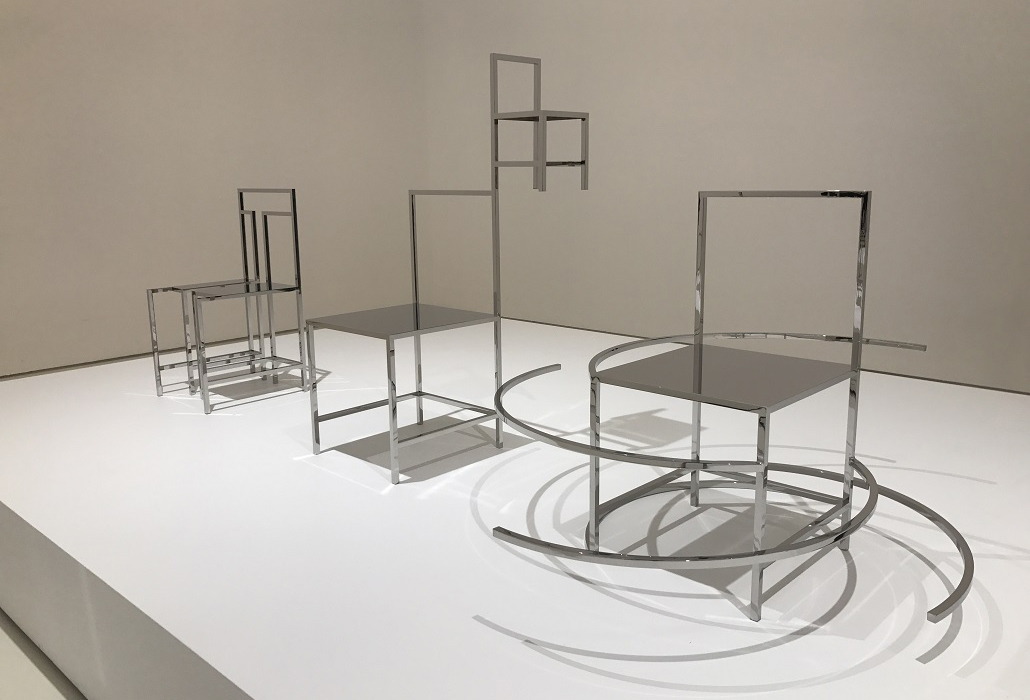 Installation view of Nendo, Manga chairs, 2015 on display in NGV Triennial at NGV International, 2017. Photo: Belinda McDowall
