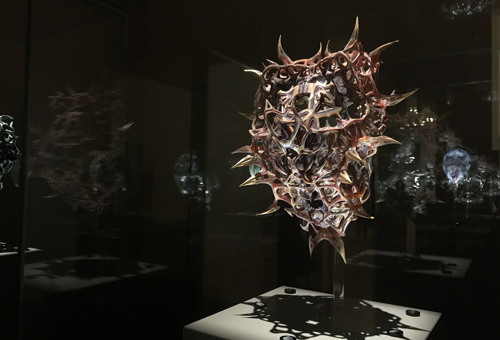Installation view of Neri Oxman Vespers, Series 1 – 3, masks 1 – 5 2016 on display in NGV Triennial at NGV International, 2017. Photo: Belinda McDowall