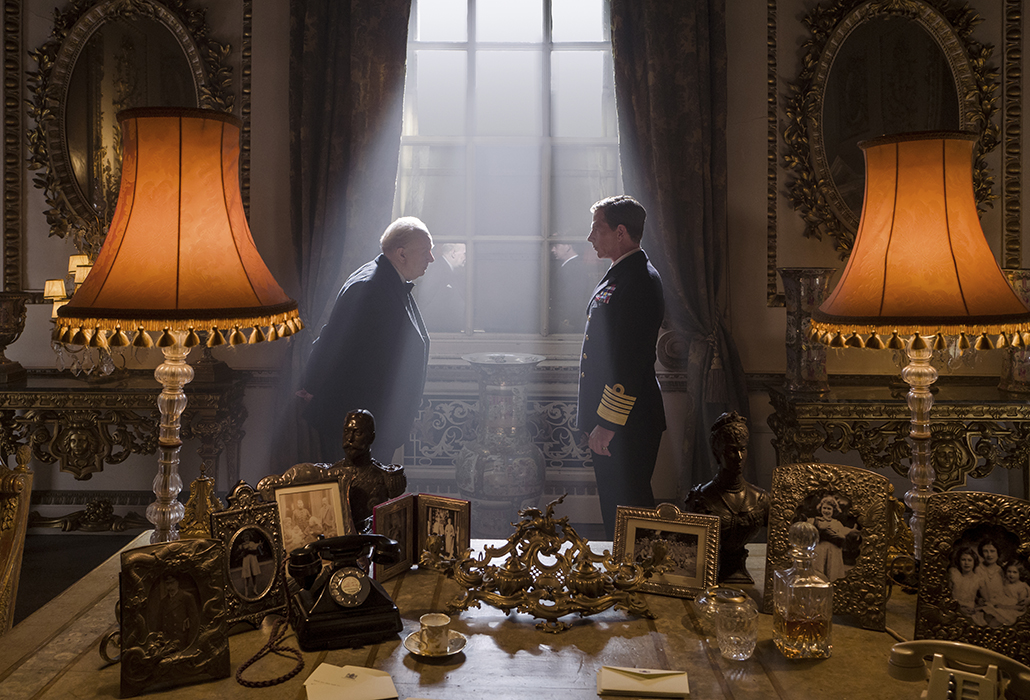 Gary Oldman stars as Winston Churchill and Ben Mendelsohn as King George VI in director Joe Wright's Darkest Hour, a Focus Features release. Photo Jack English